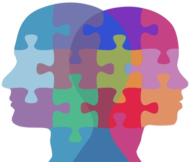 Man and Woman profiles face opposite ways in couple problem jigsaw puzzle